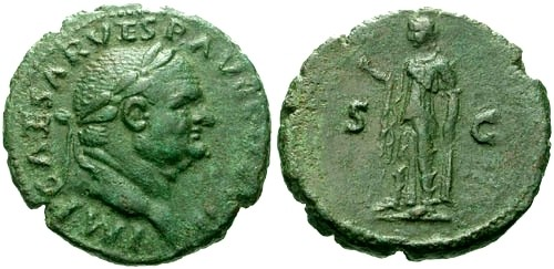 Ancient Coins - VF/VF Vespasian AE As / Spes