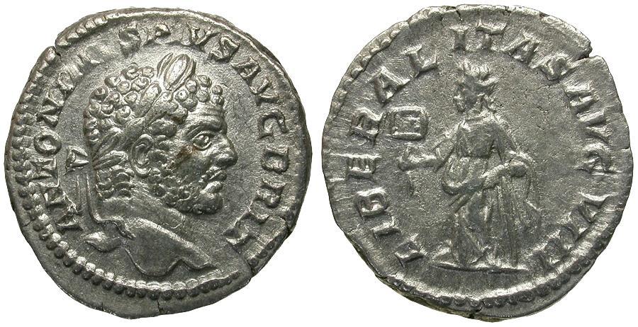 Ancient Coins - Caracalla (AD 198-217) AR Denarius / Liberalitas