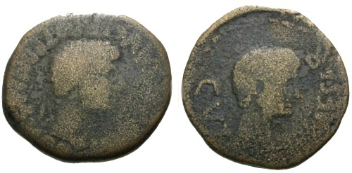Ancient Coins - F/F Tiberius and Augustus Spain Tarraco Kese AE24
