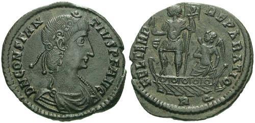 Ancient Coins - VF/aVF  Constantius II Centenionalis / Emperor on Galley R2