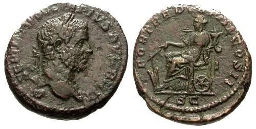 Ancient Coins - Geta as Augustus AE As / Fortuna