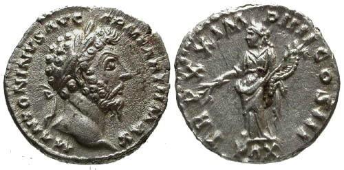 Ancient Coins - EF/EF Marcus Aurelius AR Denarius / Pax