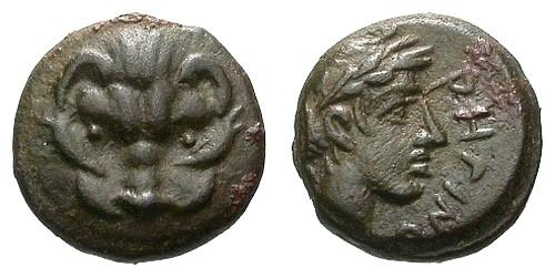 Ancient Coins - VF/VF Bruttium Rhegion AE12 / Lion's scalp / Apollo
