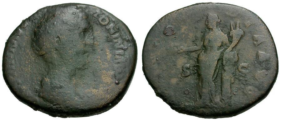 Ancient Coins - Faustina Senior, Wife of Antoninus Pius. Lifetime Issue Æ AS / Concordia