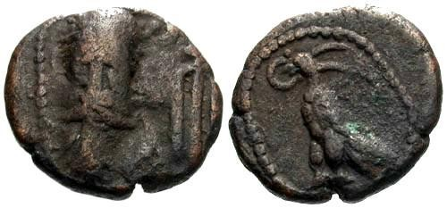 Ancient Coins - F/aVF RR Elymais AE Drachm Phraates / Eagle