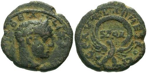 Ancient Coins - VF/VF Severus Alexander AE23 Caesarea Samaria / SPQR in Wreath
