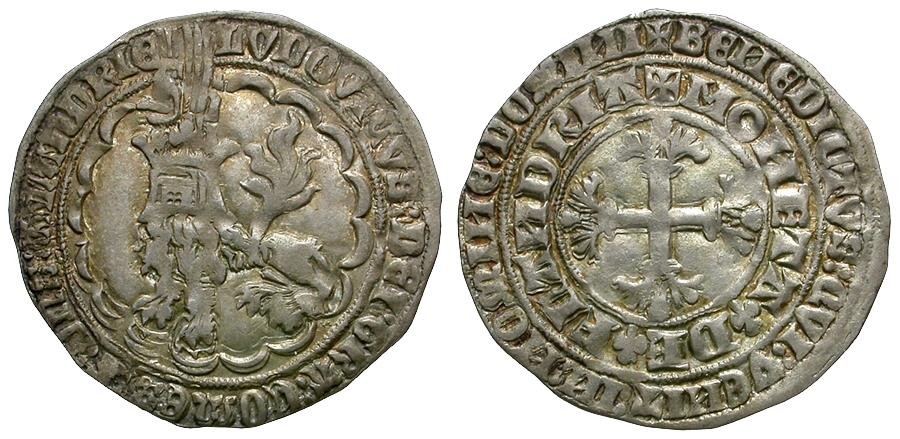 World Coins - Low Countries. Flanders. Louis II de Male (1346-1384) AR Double Gros