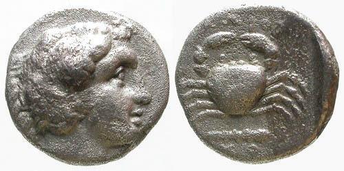 Ancient Coins - VF/aVF Islands of Caria Kos AR Hemidrachm / Crab