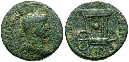 Ancient Coins - gF/VF Severus Alexander Phoenicia Sidon AE23 / Car of Astarte