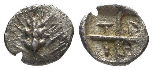 Ancient Coins - VF/VF Macedon Tragilos AR Hemiobol / Wheat Ear