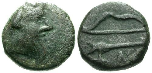 Ancient Coins - F/F Pantikapaion AE11 / Satyr and Bow and Arrow