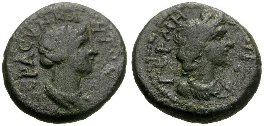 Ancient Coins - Mysia.  Germe Pseudo-Autonomous Issue Æ15 / Busts of Senate and Apollo