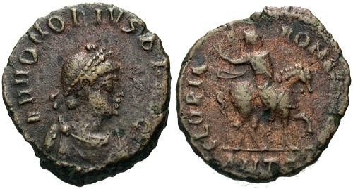Ancient Coins - VF/VF Honorius AE / Honorius on Horseback