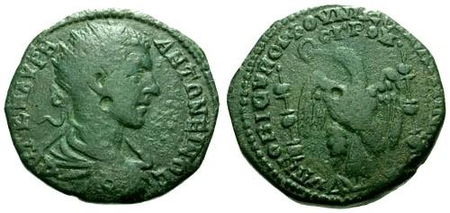 Ancient Coins - gF/gF Elagabalus Moesia Inferior Nicopolis AE25 / Eagle