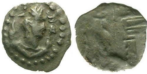 Ancient Coins - VF/F Hephthalite Gandhara AE / Napki Mahlka Legends