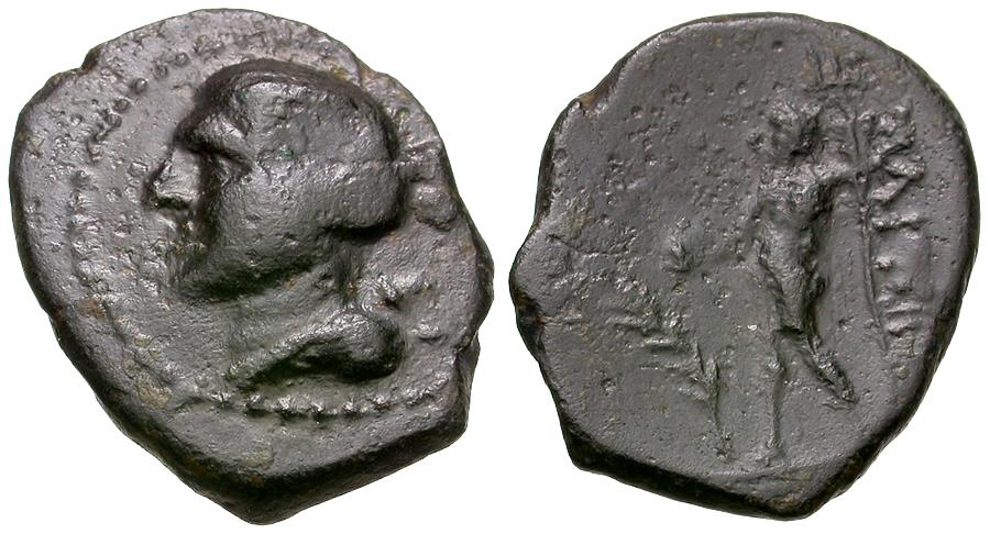 Ancient Coins - Thessaly. Magnetes Æ14 / Poseidon
