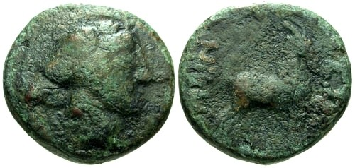 Ancient Coins - F/F Thessalonica AE17 / Goat