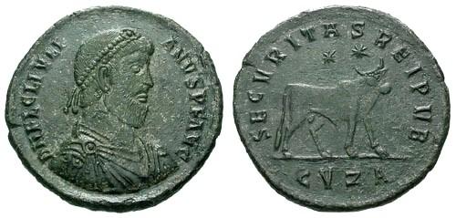 Ancient Coins - VF/VF Julian The Apostate AE Follis / Apis Bull