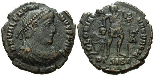 Ancient Coins - aVF/aVF Valentinian I AE3 / Emperor with Chi Rho