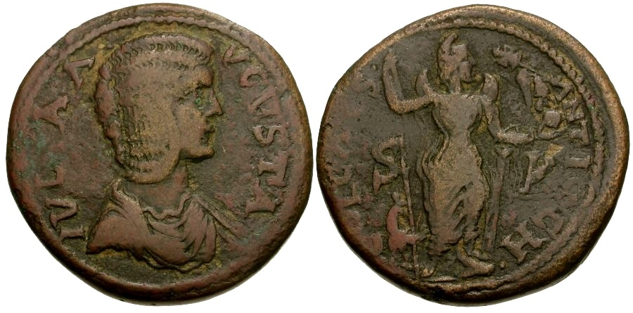 Ancient Coins - Julia Domna. Pisidia Antiochia Æ34 / Men