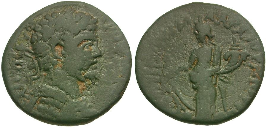 Ancient Coins - Septimius Severus (AD 193-211). Phrygia. Peltae Æ21 / Tyche Soterios