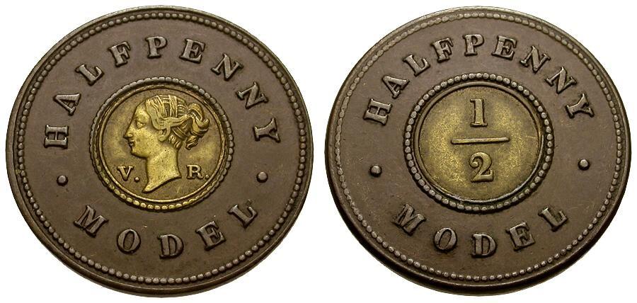 Ancient Coins - Great Britain.  Victoria Bi-Metallic 1/2 Penny Model Token / Non-Selected Trial Strike
