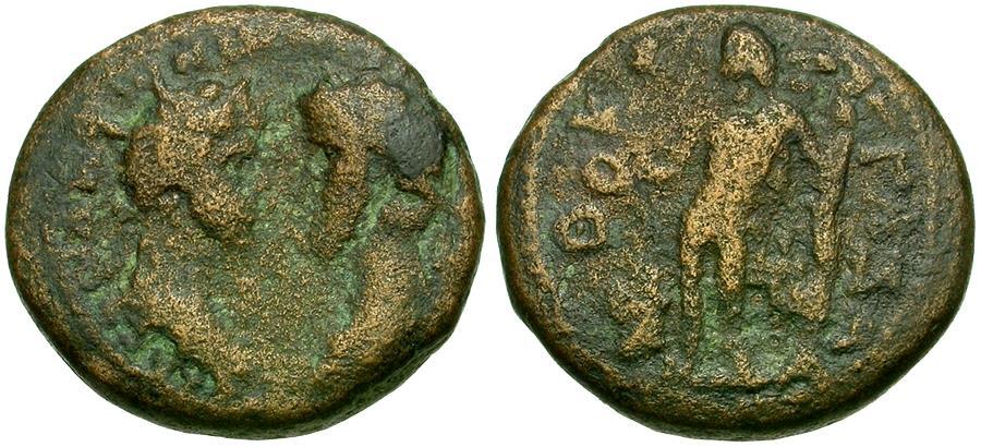 Ancient Coins - Marcus Aurelius (AD 161-180) with Lucius Verus. Judaea. Gaza Æ20 / Apollo