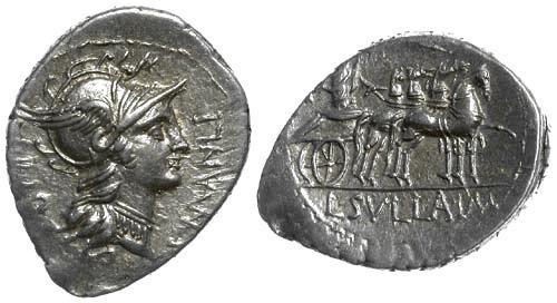 Ancient Coins - 82 BC Manlia 4 Roman Republic AR Denarius of L. Manlius Torquatus