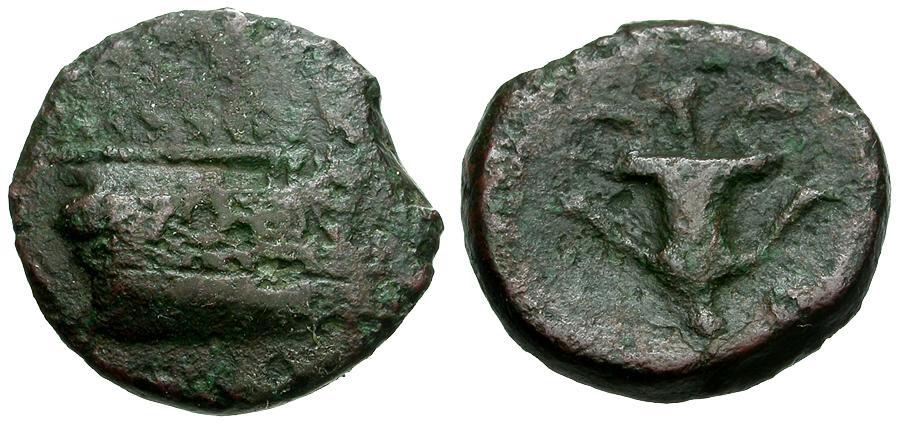 Ancient Coins - Korkyra. Korkyra Æ18 / Prow / Kantharos