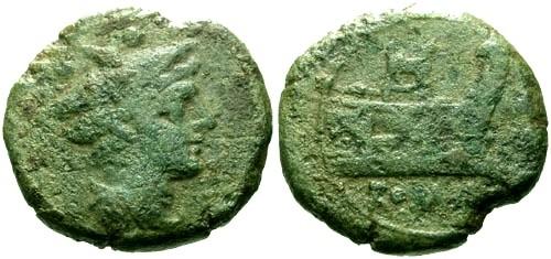 Ancient Coins - gF/gF 206-195 BC Roman Republic AE Sextans / Dog GOODMAN COLLECTION