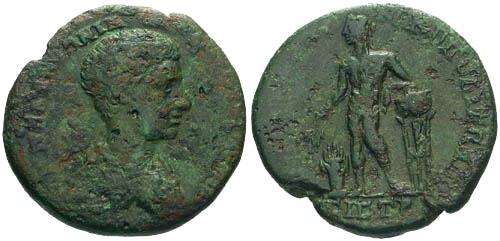 Ancient Coins - F/F+ Diadumenian Provincial Bronze Marcianopolis / Apollo