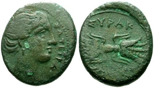Ancient Coins - aVF/aVF Sicily Syracuse 4th Republic Agathocles AE16 / Female bust and Thunderbolt
