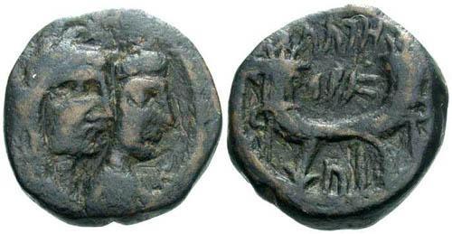 Ancient Coins - F+/F+ Aretas IV AE17 / Jugate busts of Aretas and queen Shugailat