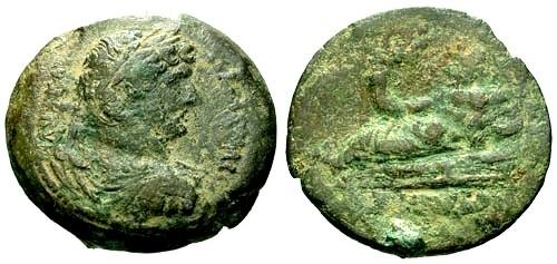 Ancient Coins - F/F Hadrian AE Drachm Alexandria Egypt / Nilus