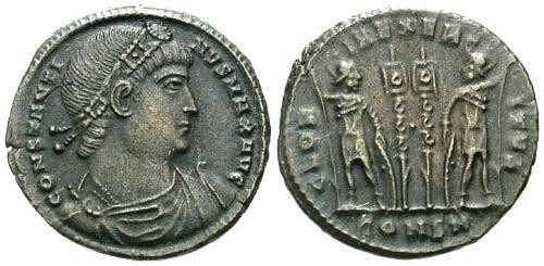 Ancient Coins - EF/VF Constantine I the Great AE Follis / Gloria