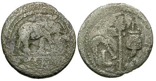 Ancient Coins - VG/VG Julius Caesar AR Denarius / Elephant / Priestly Implements