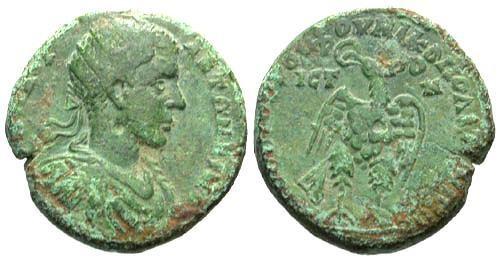 Ancient Coins - aVF/aVF Elagabalus AE26 / Eagle