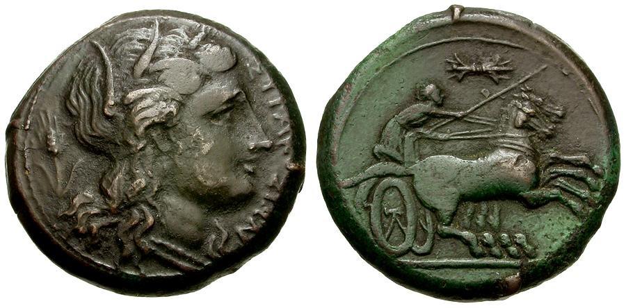 Ancient Coins - Sicily. Syracuse. Agathokles or Hiketas Æ21 / Charioteer Driving Biga