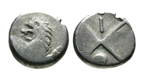 Ancient Coins - VF/gF Thrace Cherronesos AR Hemidrachm / Lion and I with ladle