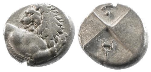 Ancient Coins - aVF/aVF Thrace Chersonese AR Hemidrachm / Lion / four-part incuse