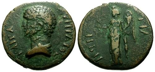 Ancient Coins - aVF/aVF Marcus Aurelius as Caesar Bithynia Tium AE21 / Victory