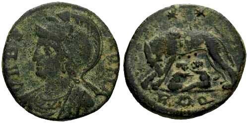 Ancient Coins - aVF/aVF Constantinople Commemorative / She Wolf Rome R4