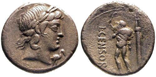Ancient Coins - 82 BC / VF/VF Marcia 24d Roman Republic Denarius / Rare / Satyr Marsyas