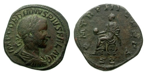 Ancient Coins - VF/VF Gordian III AE Sestertius / Gordian on curule chair