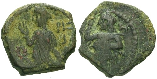 Ancient Coins - EF/EF Aretas IV Nabatean AE15 / King and his Queen