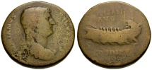 Ancient Coins - Hadrian Æ Sestertius / Galley