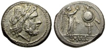 Ancient Coins - 211-208 BC - Roman Republic. Anonymous AR Victoriatus / Jupiter