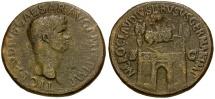 Claudius for Nero Claudius Drusus Æ Sestertius / Triumphal Arch