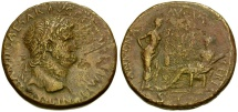 Ancient Coins - Nero Æ Sestertius / Annona and Ceres