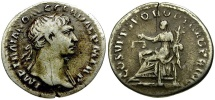 Ancient Coins - Trajan AR Denarius / Aequitas